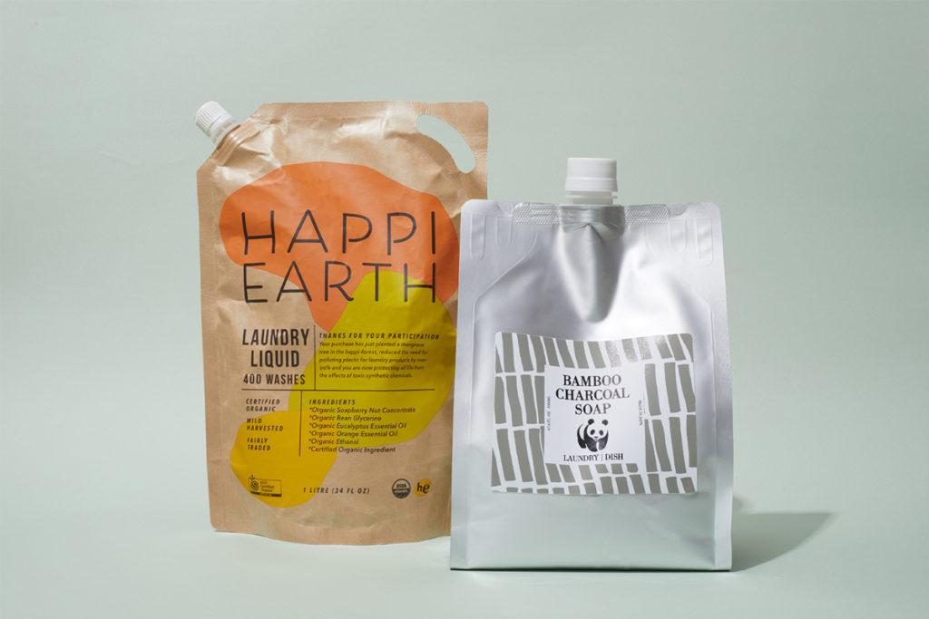 左から 地球に優しいウォッシュ革命「Happy wash」、オフィスでMYエシカル「New normal」、今年はおうちでDIY「Wood time」